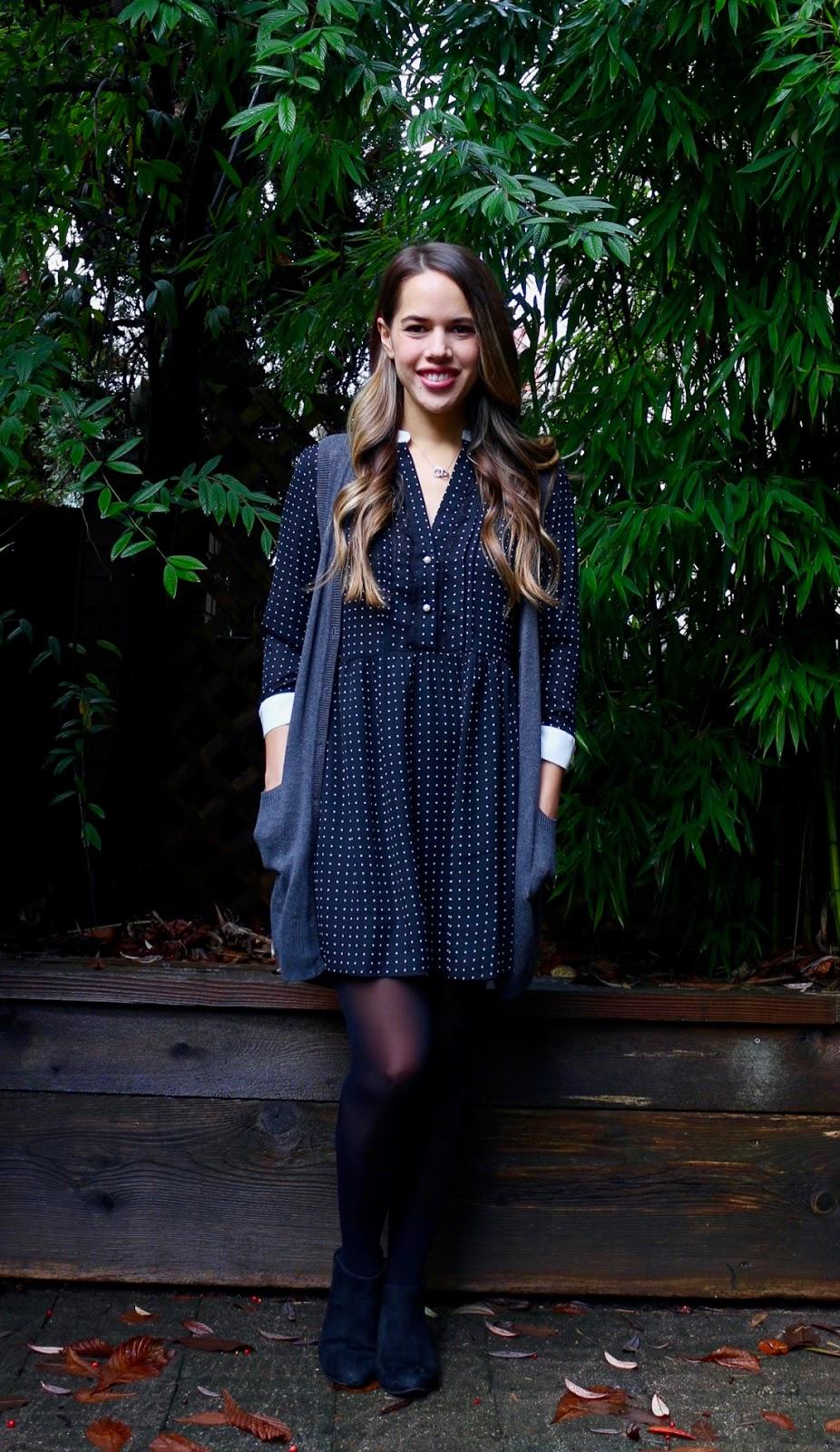 Jules in Flats - Zara Polka Dot Dress + Sweater Vest (Business Casual Fall Workwear on a Budget)