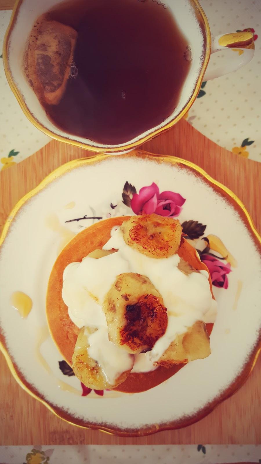 Fried Banana, Maple Syrup Pancakes