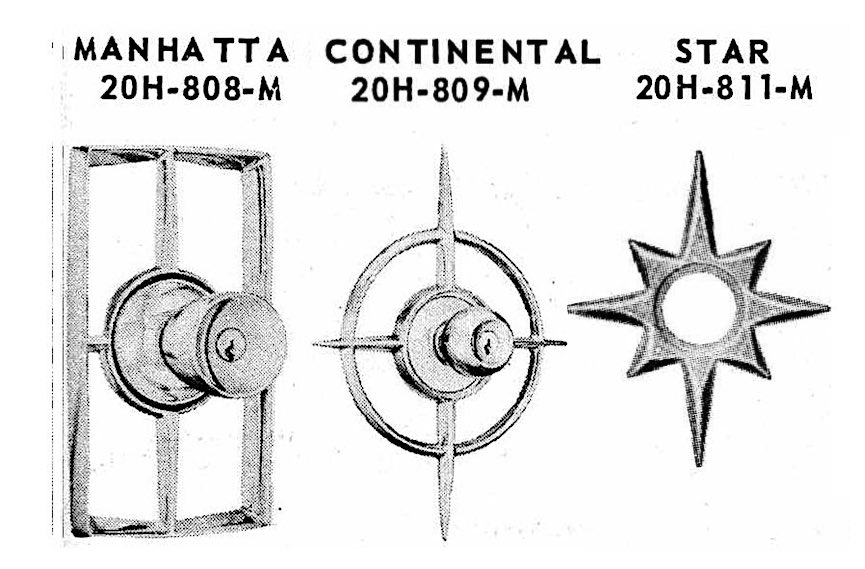 1959 exterior door handles in starburst brass