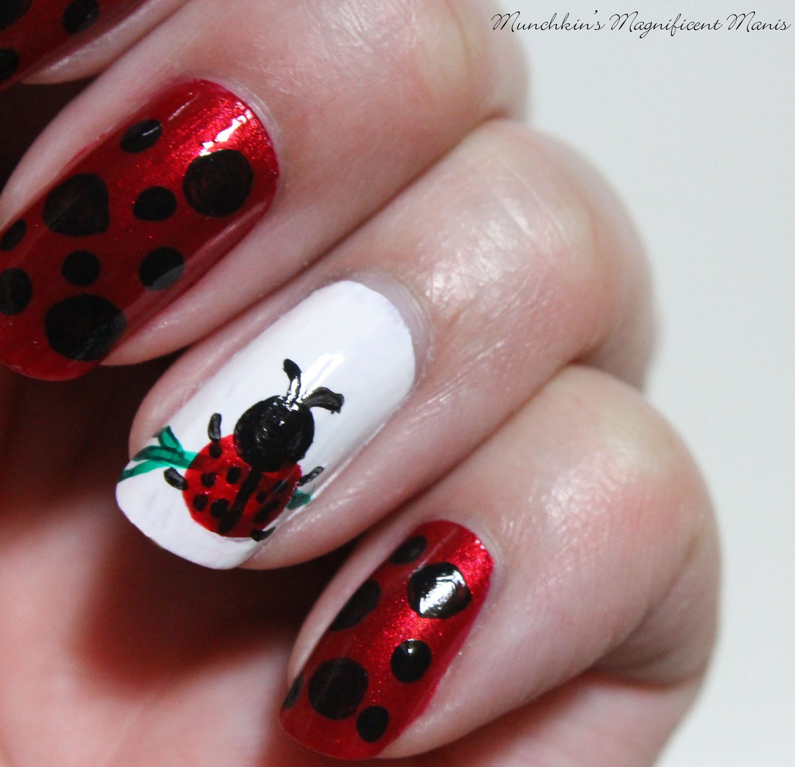 Munchkins Magnificent Manis Act Like A Lady Ladybug Nail Design