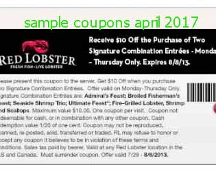 free Red Lobster coupons april 2017