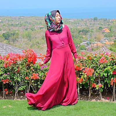 Model Baju Hijab Dian Pelangi Warna Pink