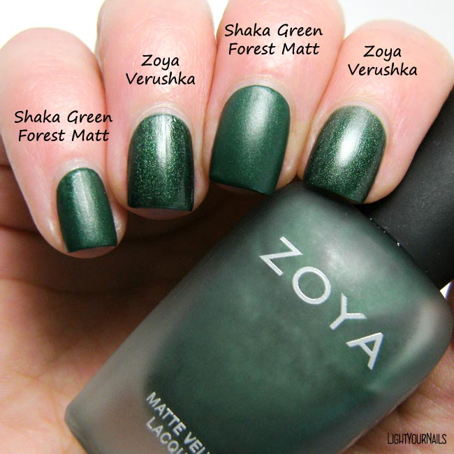 Smalto Shaka Green Forest Matt nail polish vs smalto Zoya Verushka nail polish comparison confronto