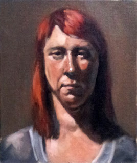 Oil painting of a young woman with dyed red hair facing the viewer.