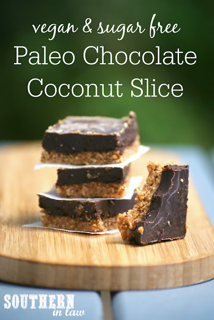 Healthy Paleo Chocolate Coconut Slice Recipe - paleo, vegan, healthy, gluten free, grain free, sugar free, no bake, raw, clean eating recipe