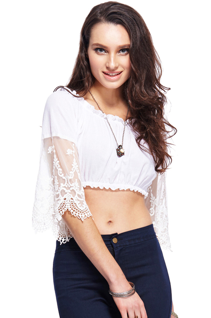 ROMWE Lace-trimmed Off Shoulders White Top