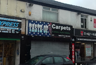 The 'Taste of Carpets' shop in Edgeley, Stockport