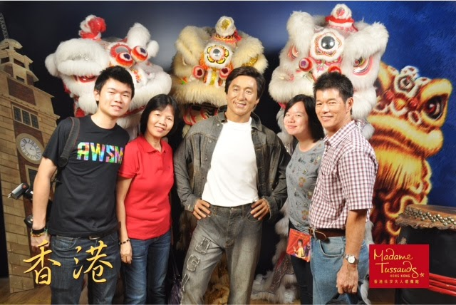 FAMILY PHOTO IN MADAM TUSSAUDS HONG KONG WITH JACKIE CHAN