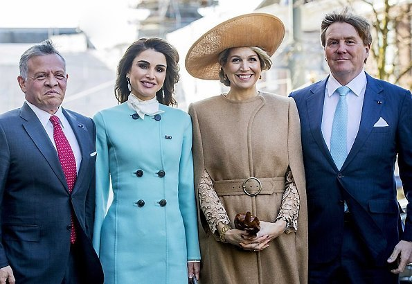 Queen Maxima wore Claes Iversen Serval Elegant Lace Midi Dress Tobacco Brown and Claes Iversen cape coat, Queen Raina wore Claes Iversen coat