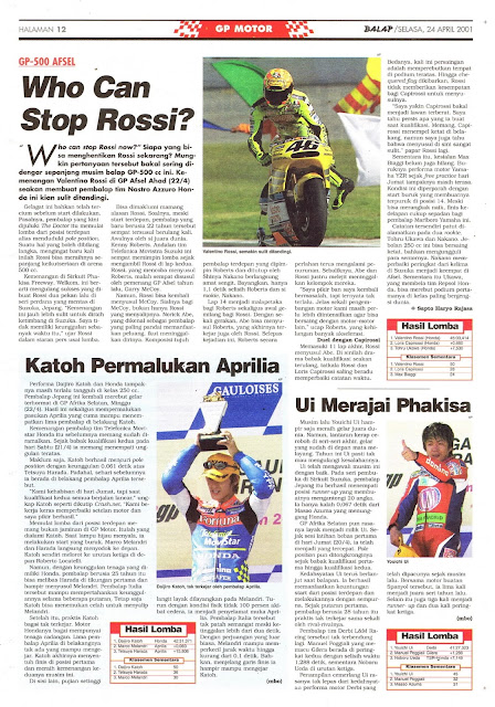 BALAP GP MOTOR: GP-500 WHO CAN STOP ROSSI?