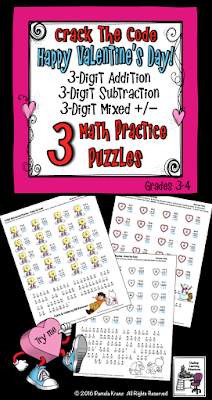 Valentines Day 3-digit Addition and Subtraction Math Practice with 3 Crack the Code puzzles for grades 3-4