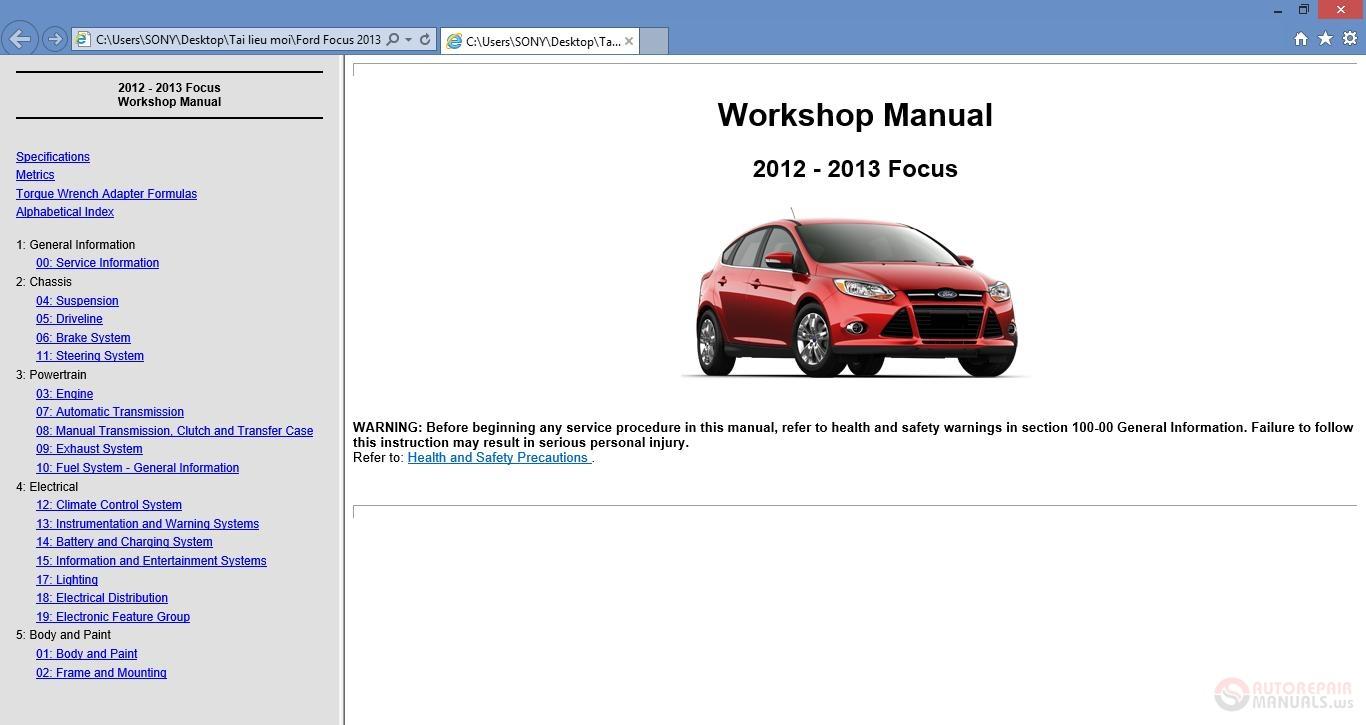 Free Auto Repair Manual   Ford Focus 2013 Workshop Repair
