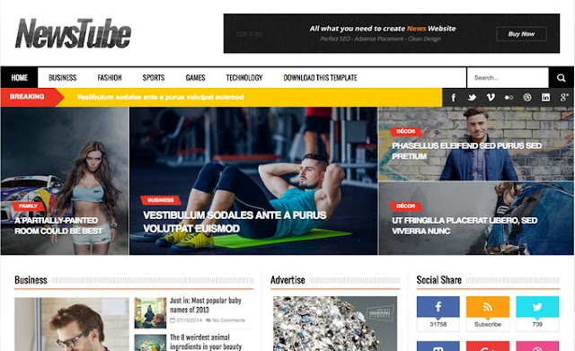 Download free blogger template news tube