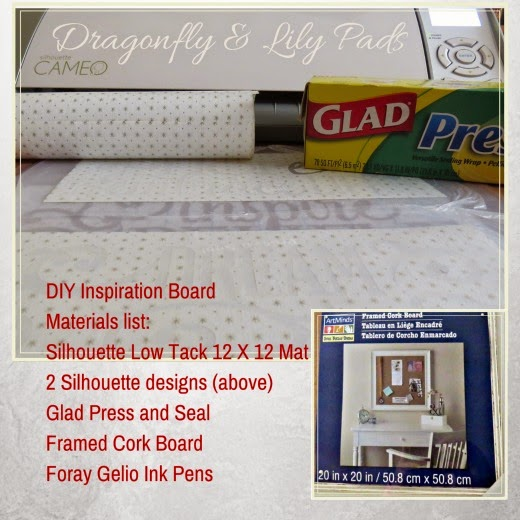 DIY Inspiration Board, Materials List, Silhouette, Glad Press N Seal, Cork Board Frame, Gel Pens