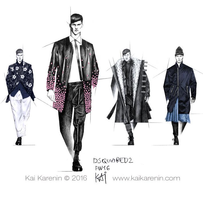 Dsquared2 FW16 Illustrations by Kai Karenin