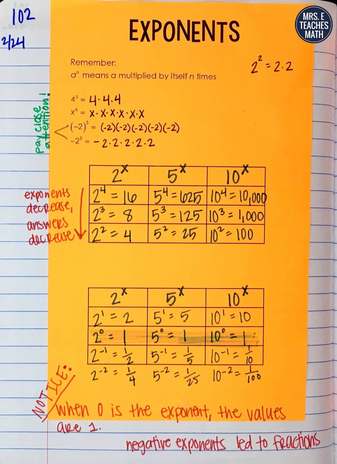 hight resolution of Exponents INB Pages   Mrs. E Teaches Math