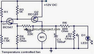 Simple Speed Control Temperature DC Fan Circuit Diagram