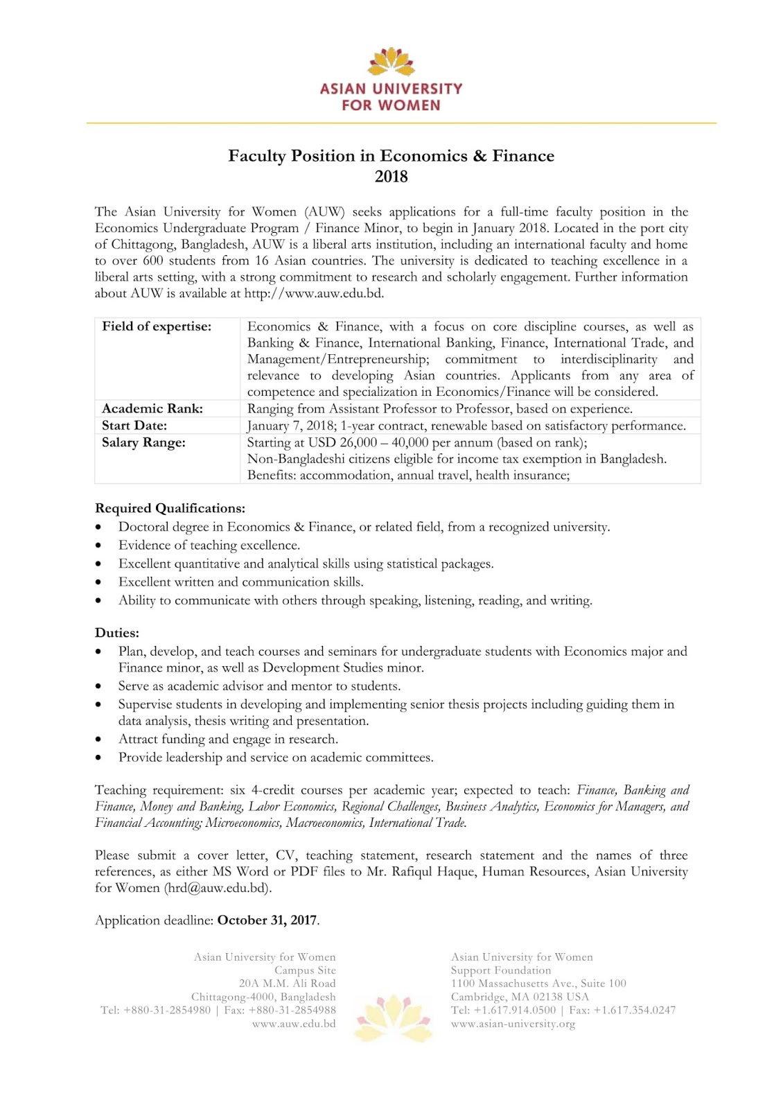 Jobs for BD Students: Teaching Jobs at Asian University For Woman