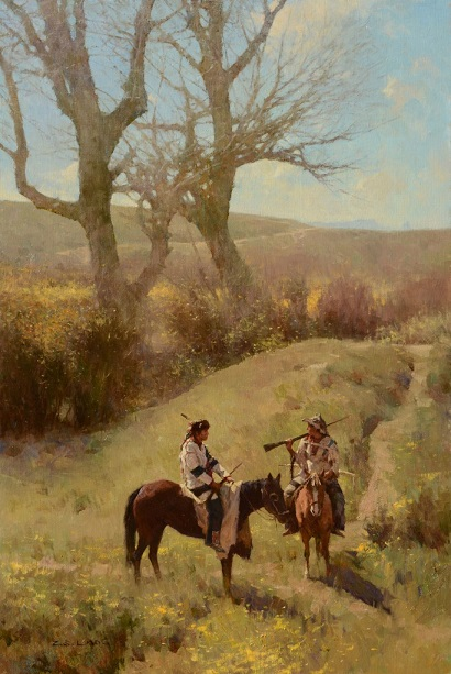 "by Z. S. Liang, ""Old Friends Meeting on the Old Trail"" - oil on linen canvas 