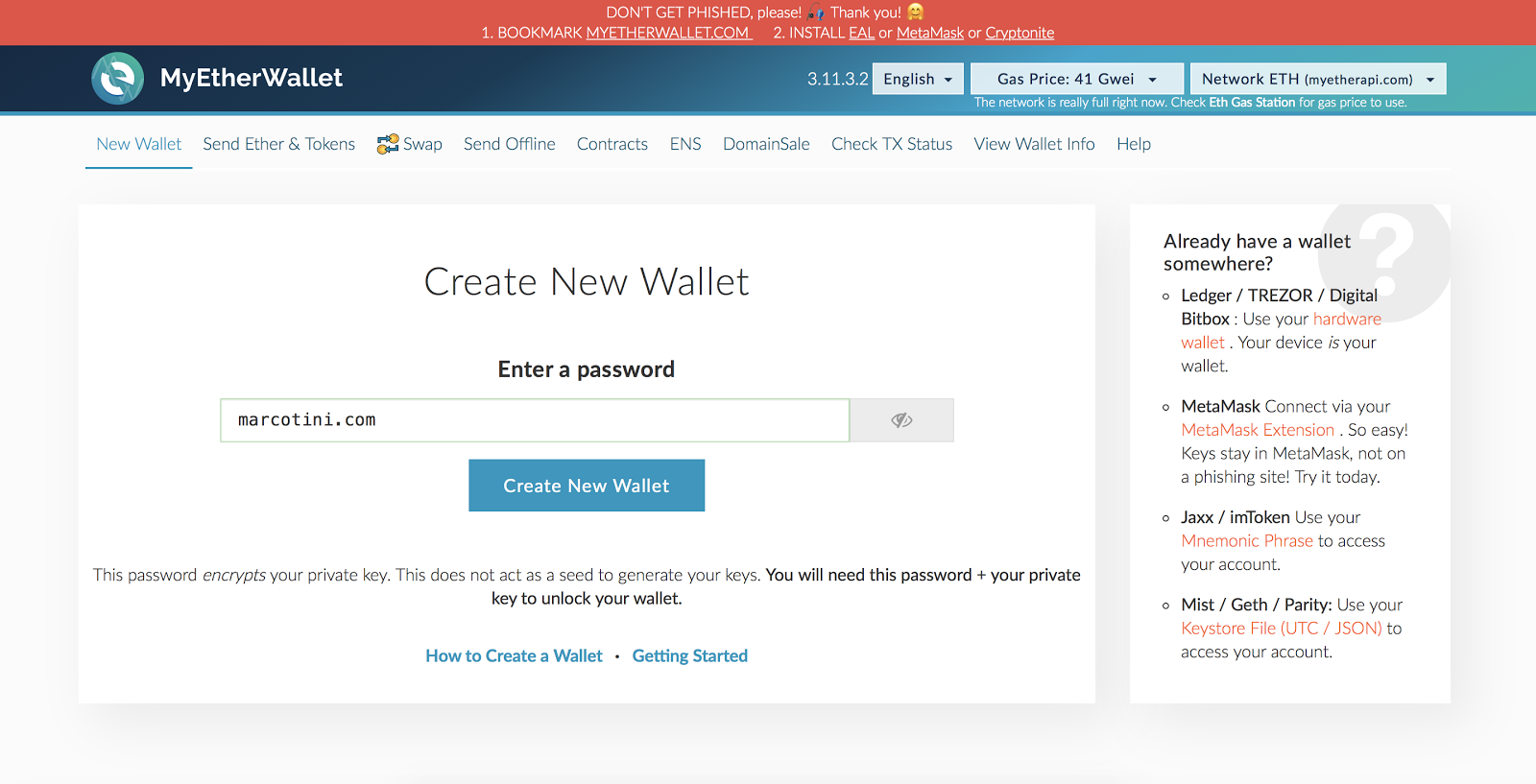 Come scaricare e usare MyEtherWallet offline