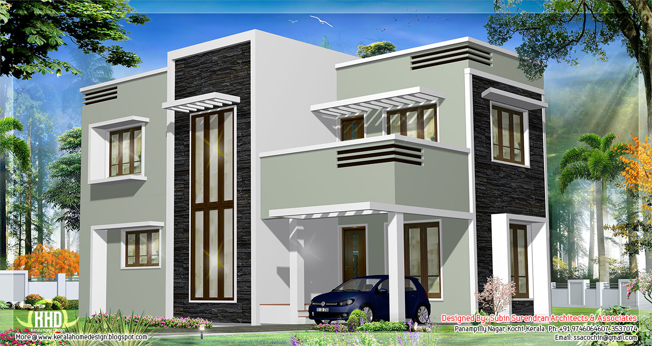 1278 Sq Feet Kerala Flat Roof Home Design Kerala Home