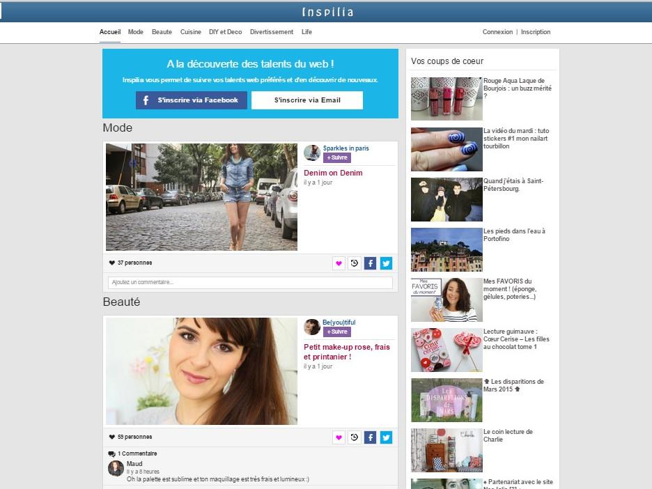 Page d'accueil Inspilia