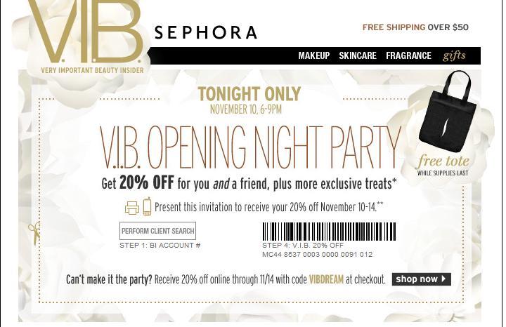 Sephora.com Coupon Code 20 Off