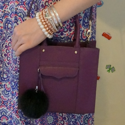 silver and gold pearl bracelet stack with Rebecca Minkoff mini MAB tote in plum    awayfromtheblue