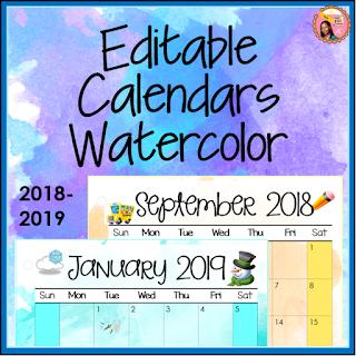 2018-2019 Calendars Watercolor Editable