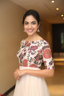 Ritu Varma smiling face Cream Anarkali dress at launch of OPPO New Selfie Camera F3 ~  Exclusive 065.JPG