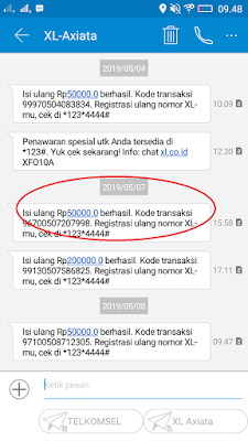 Bukti Pembayaran Pulsa Gratis dari Aplikasi Imeme Android