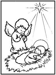 Desenho de anjinho no presépio para colorir