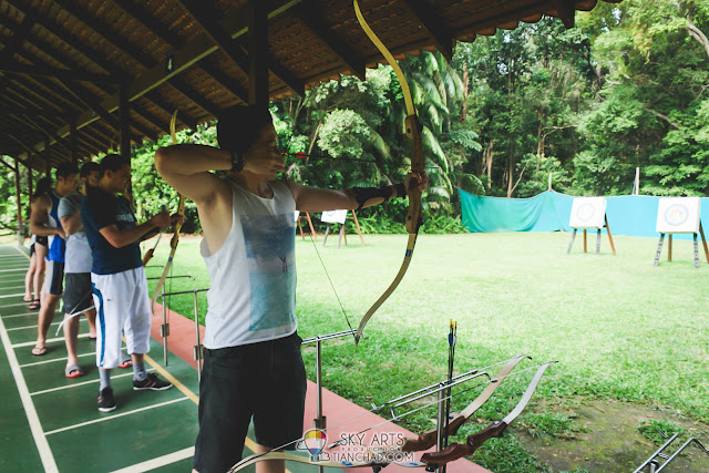 Challenge yourself to shoot all three arrows at the red target Archery @ Club Med Cherating Beach