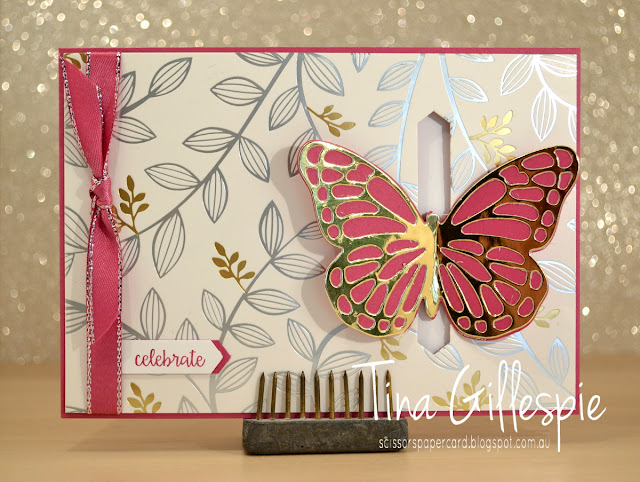 scissorspapercard, Stampin' Up!, Springtime Foils SDSP, Bold Butterfly Framelits, Butterflies Thinlits, Happy Birthday Gorgeous