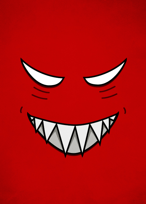Red evil grinning face with evil eyes vector illustration