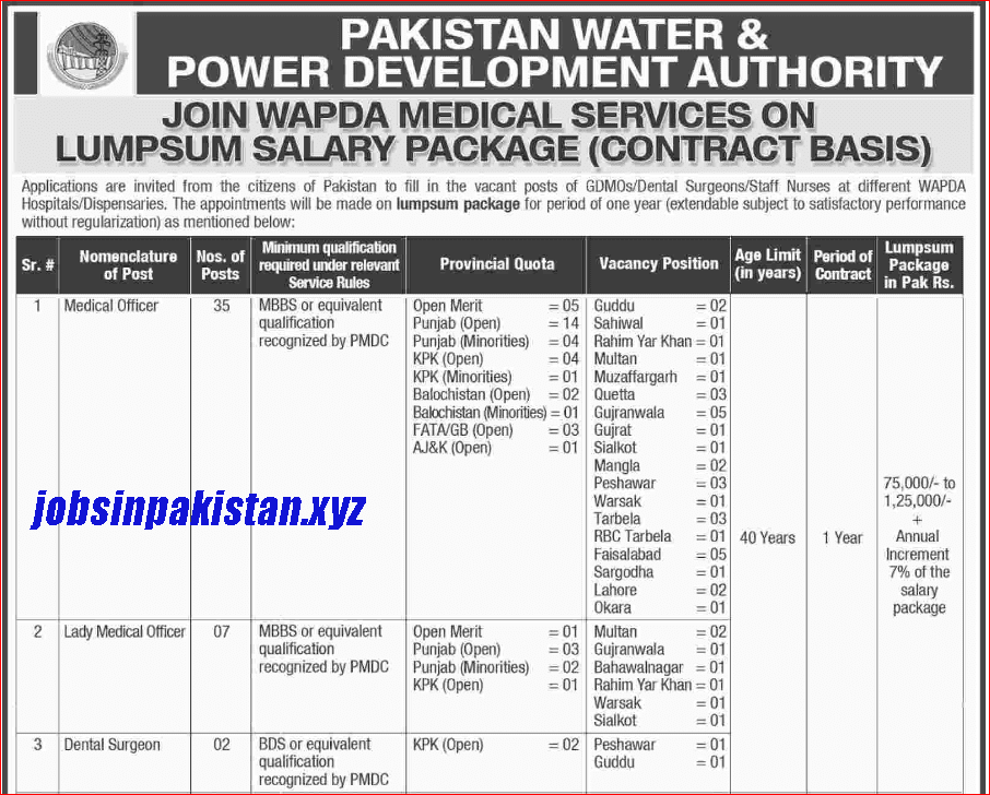 Advertisement for WAPDA Jobs December 2018 Page No. 1/2