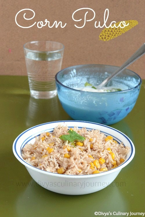 Flavorful Pulao made with freshly ground spices and sweet corn