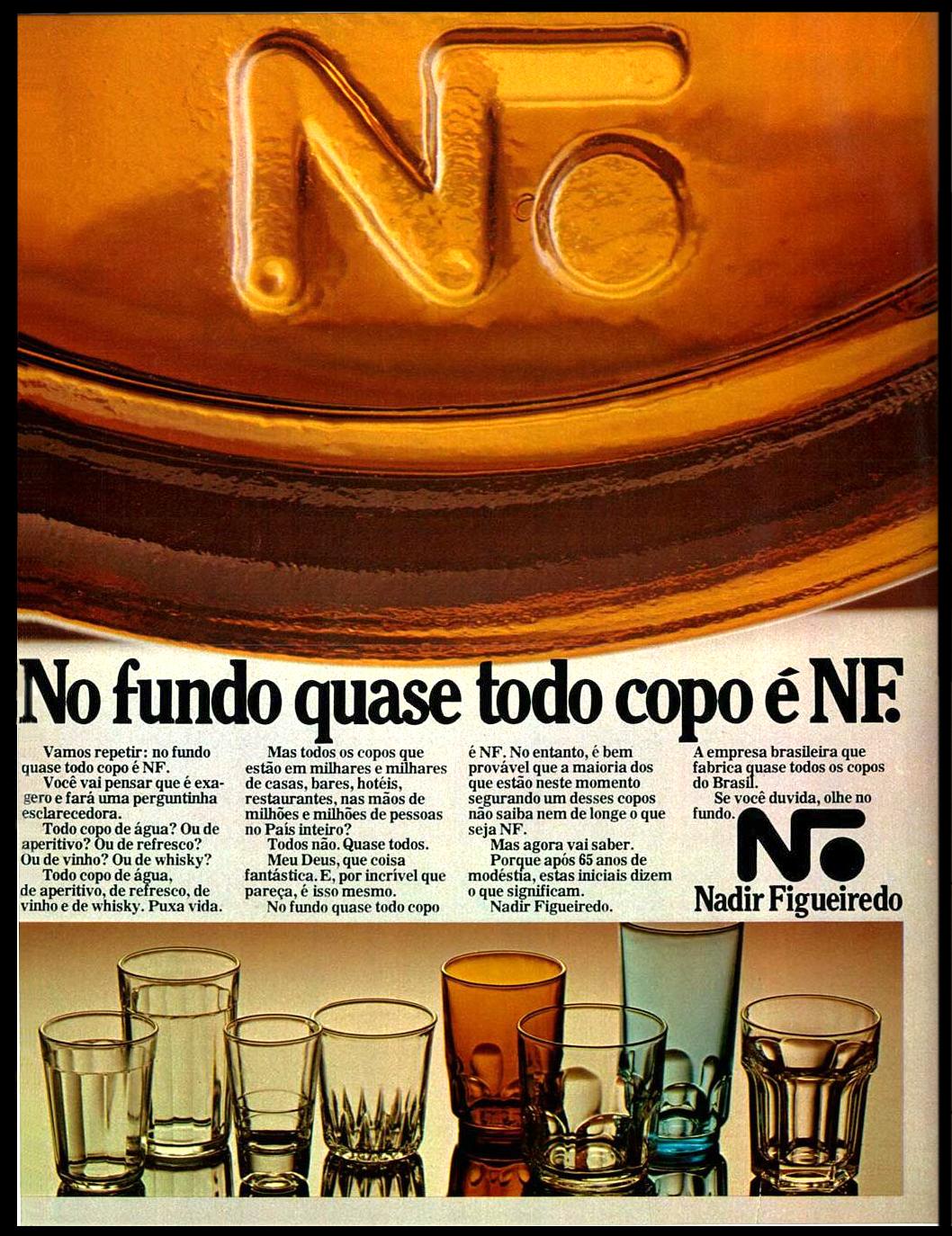 Propaganda antiga da Nadir Figueiredo em 1977 apresentando sua linha de copos
