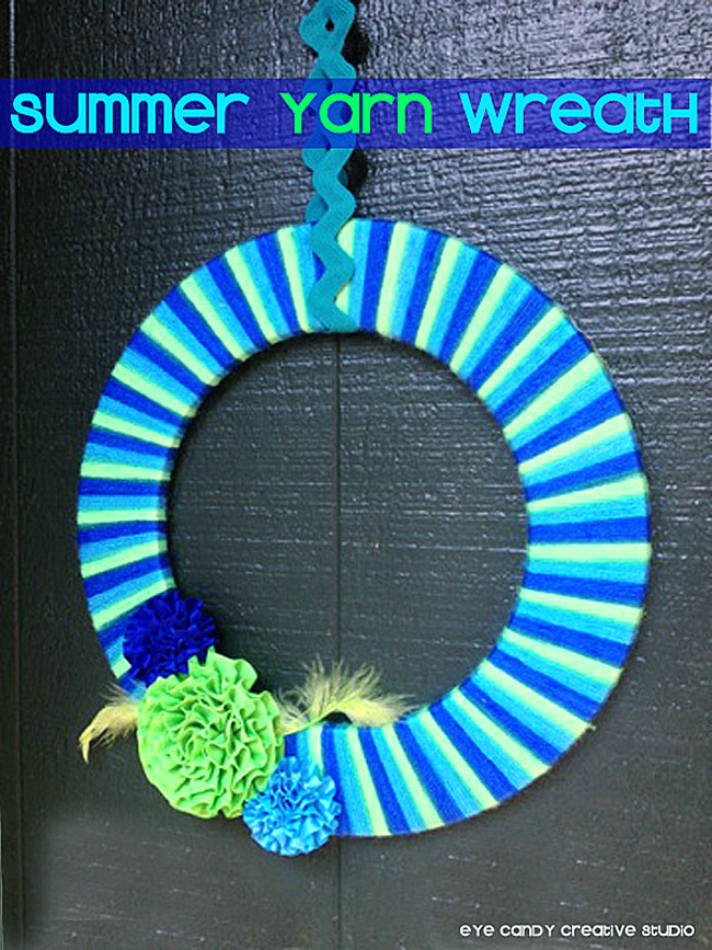 hanging wreath on front door, summer wreath, striped wreath, flowers