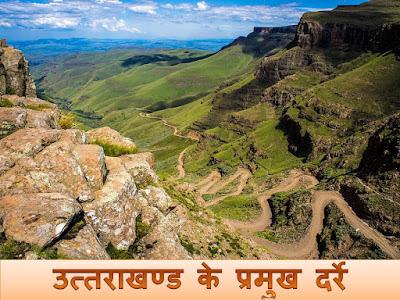 Uttarakhand ke pramukh darre उत्तराखण्ड के प्रमुख दर्रे
