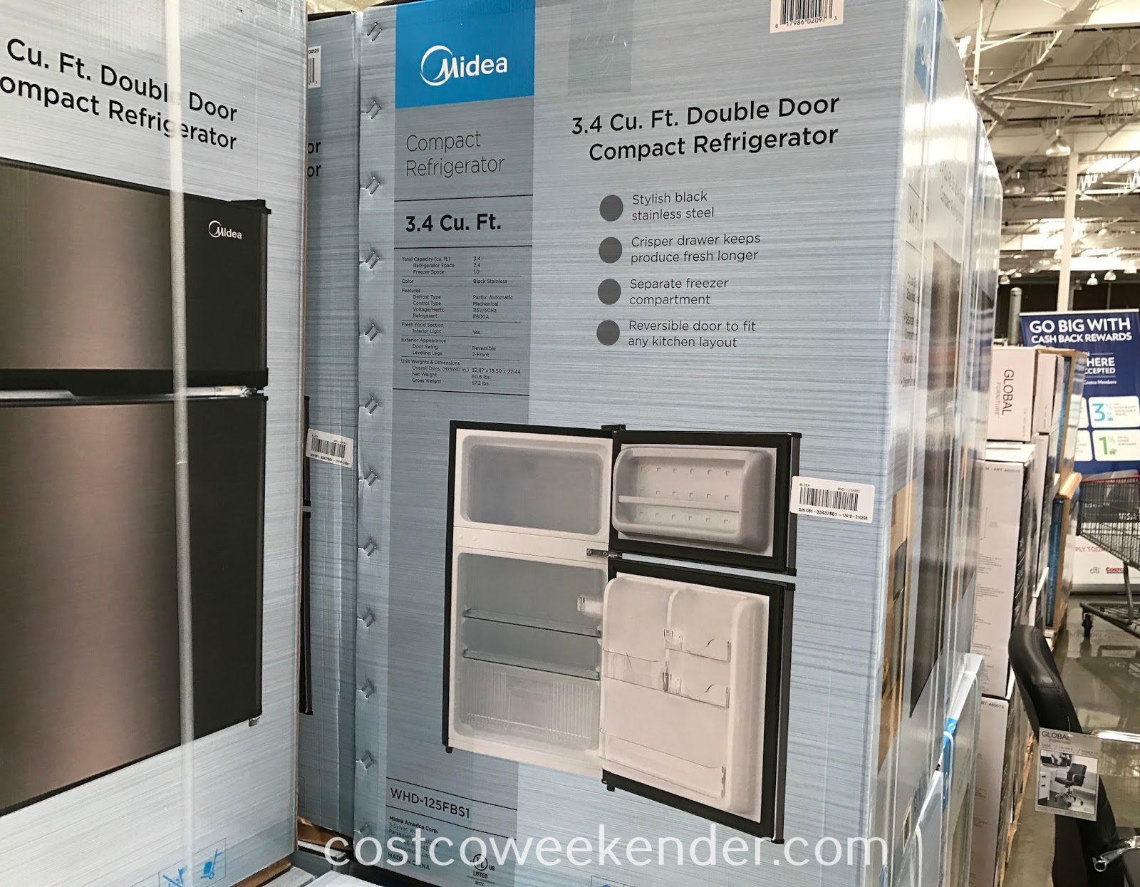 Costco 2000125 - Midea WHD-125FBS1 3.4 cu ft Double Door Compact Refrigerator: great for dorms rooms or garages
