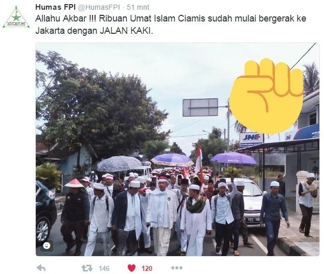 Meski Dipersulit Datangi Jakarta Untuk Aksi 212, 10 Ribu Massa Umat Islam Berjalan Kaki Dari Ciamis : Detikberita.co Terhangat Hari Ini
