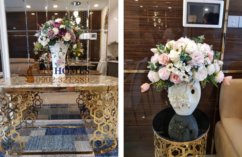Căn hộ Vinhomes 3PN cho thuê Landmark 4 nội thất mới - bình hoa tươi trang trí