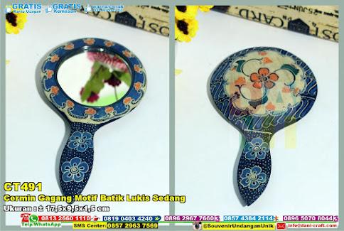 Cermin Gagang Motif Batik Lukis Sedang