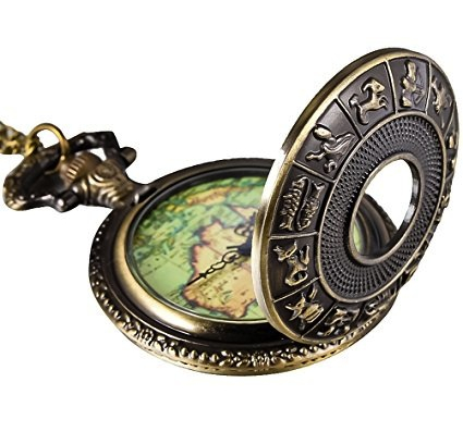 Steampunk accessories for men and women. jewelry and pocketwatches Bronze 12 Constellation Cover Map Pocket Watch