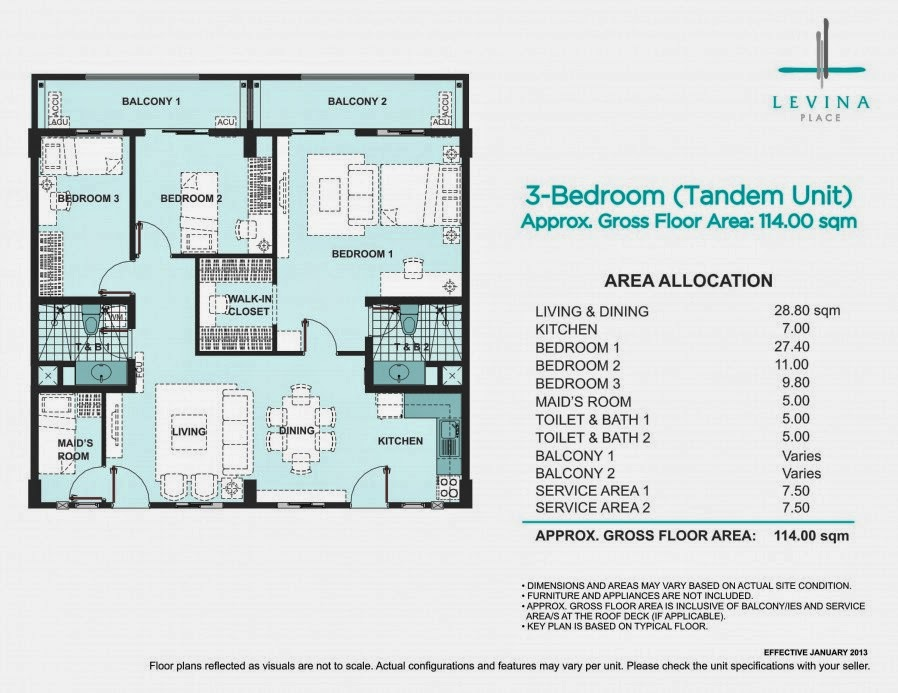 Levina Place 3 Bedroom Tandem Unit 114.00 sqm.