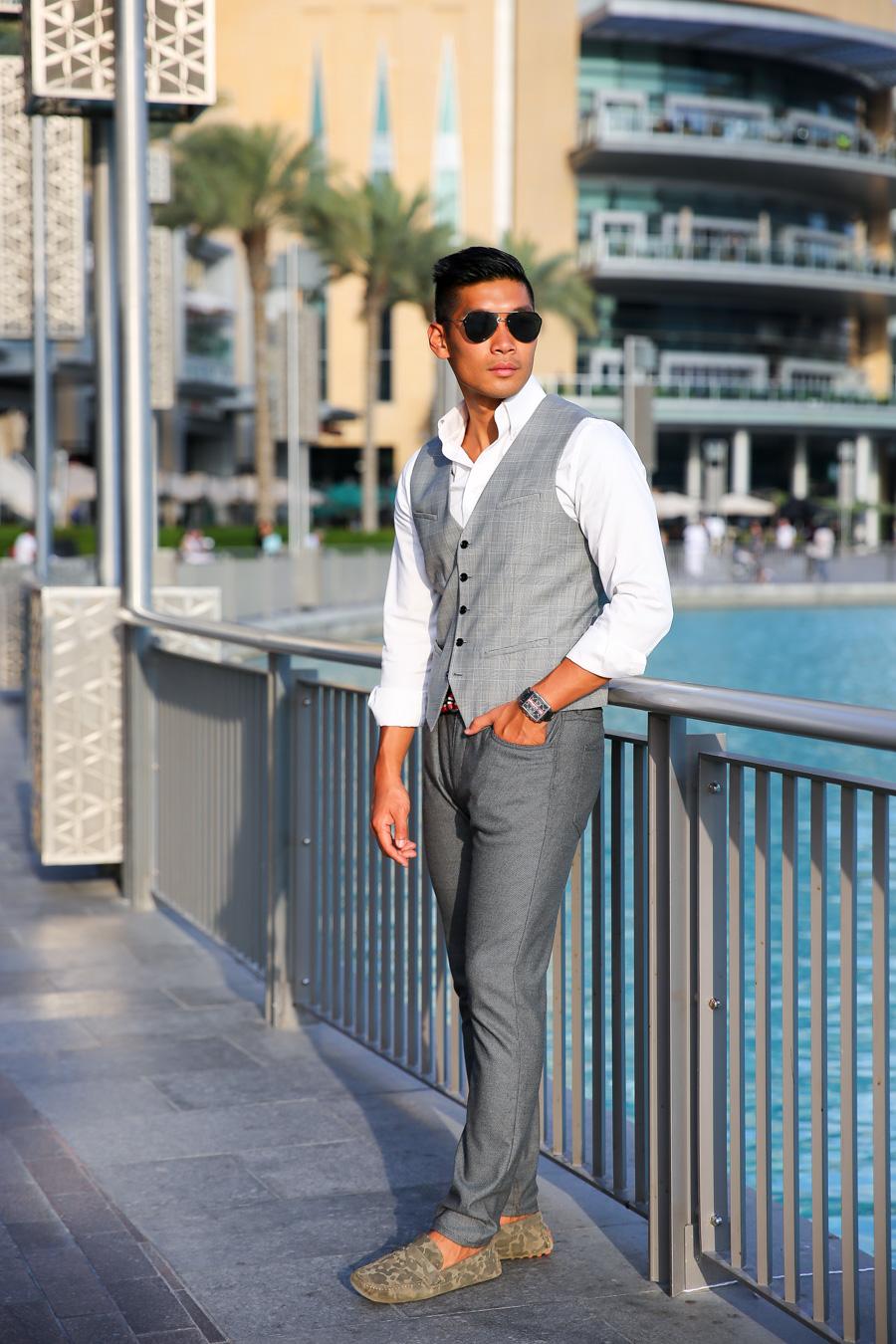 Leo Chan, Levitate Style, menswear, Dubai, Plaid Vest, Camo Loafers