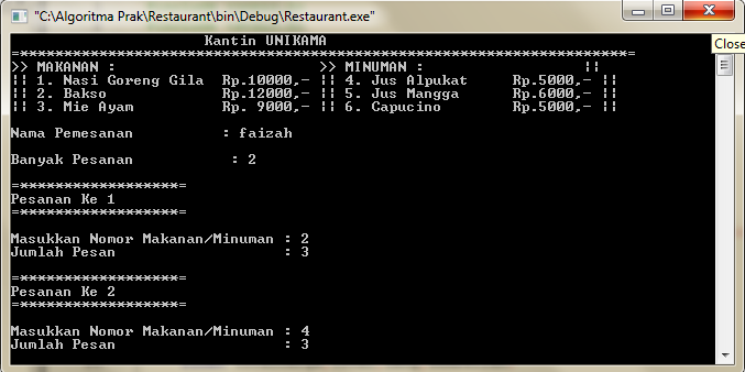 Program Pembayaran Kasir Restaurant C++ Codeblock