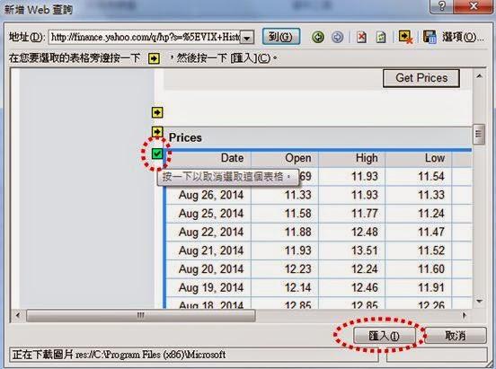 如何用EXCEL自動抓取網頁資料 @ 國外商品期貨快譯通