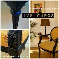 silla vintage luis xvi clasica negro y amarillo